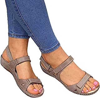 Peep Toe Women Flat Sandals, Rome Summer Fashion Ankle Buckle Strap Wedges Shoes Leisure Lightweight Summer Shoes Elegant Comfortable Outdoor Sandals,B,35