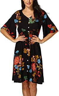 f7f9870f2cff Oliviavan Women Boho Print Dress Button Up Split Floral Flowy Party Gown  Half Sleeve Comfortable Sundress