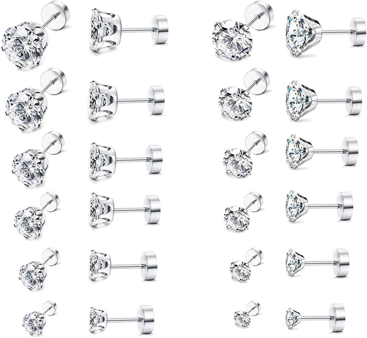 LOYALLOOK Atlanta Mall 12 Pairs In a popularity 20G Stainless Steel Cubic Stud Z Ear Piercing