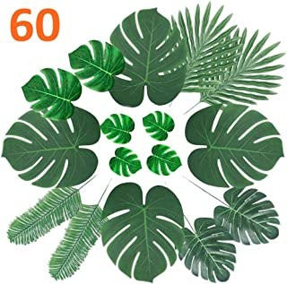 CADNLY Artificial Palm Leaves Decorations - 60 pcs 6 Kinds Faux Tropical Leaves for Jungle Theme Party Supplies Safari Decorations Fake Monstera Leaf for Luau Dinosaur Hawaiian Party Decoration (1)