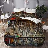 JOSENI Juego de Ropa de Cama con Funda de edredón, de Microfibra, Herramientas Vintage colgadas en una Pared en un cobertizo o Taller de Herramientas,con 2 Fundas de Almohada,200x200