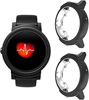 Case Compatible Ticwatch E, TPU Plated Protector Rugged Cover [Scratch-Proof] All-Around Protective Bumper Shell Compatible Ticwatch E Smartwatch (Black)