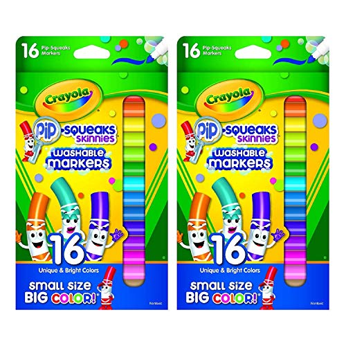 Crayola Washable Markers | Pip Squeaks Skinnies | Fine Lines | 16 Count (2-Pack)