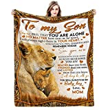 to My Son Flannel Blankets Love from Mom Vintage Personalization Blankets for Family Birthday Christmas Fleece Gift Fits Couch Sofa Bedroom Living Room 60'x50'