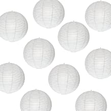 Shuangyou Paper Lamp Lantern Shade for Decoration Hotels Home Diwali Light (12 Inch; White) 10 Pieces