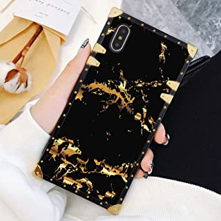 Square Case Compatible iPhone Xs iPhone X Case Gold Black Marble Luxury Elegant Soft TPU Shockproof Protective Metal Decoration Corner Back Cover iPhone XS/X/10 Case 5.8 Inch