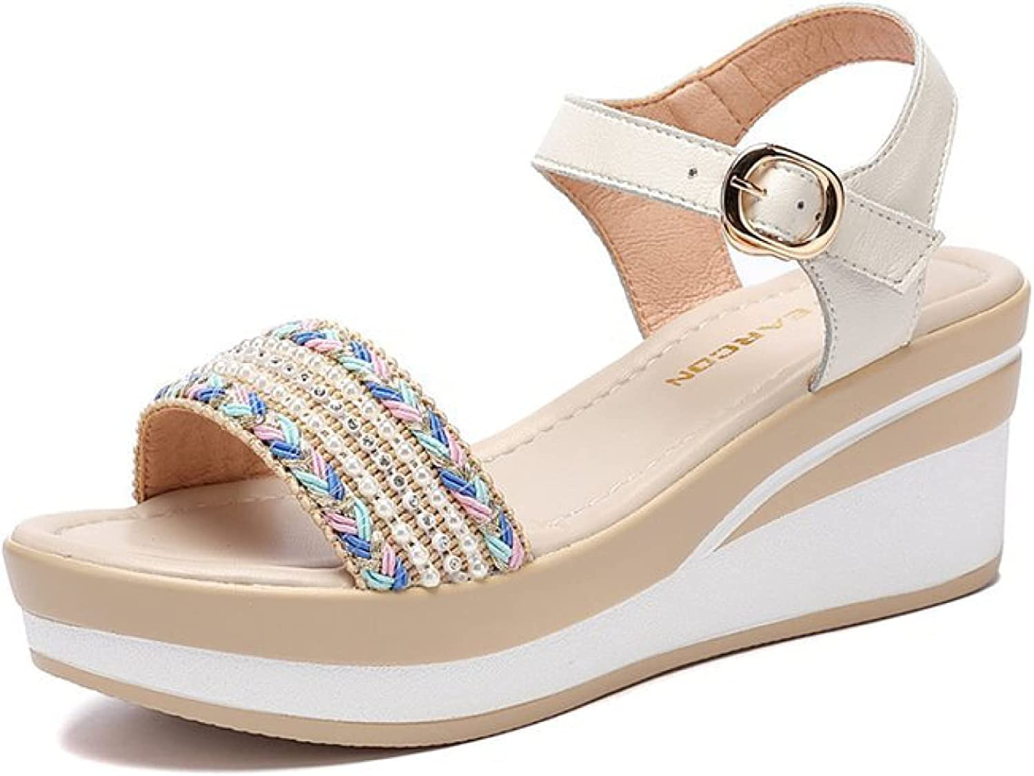 Wedge 授与 Shoes for Women 購入 Fashion Summer Pearl Rhineston Small Woven