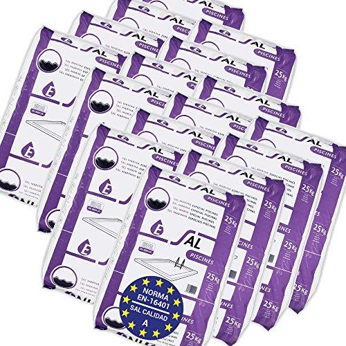 Pack de 400 Kg (16 Sacos de 25 kg.) ENISAL Sal Especial Piscinas – Cumple con la Norma Europea EN 16401/A (Sal Calidad A para Piscinas de electrólisis Salina)