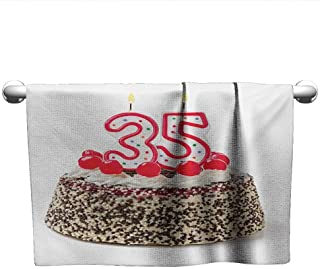 alisoso 35th Birthday,Wholesale Towels Gourmet Dessert Cherry Cake Pie for Party Special Day Age Thirthy Five Machine Washable Red Brown White W 14