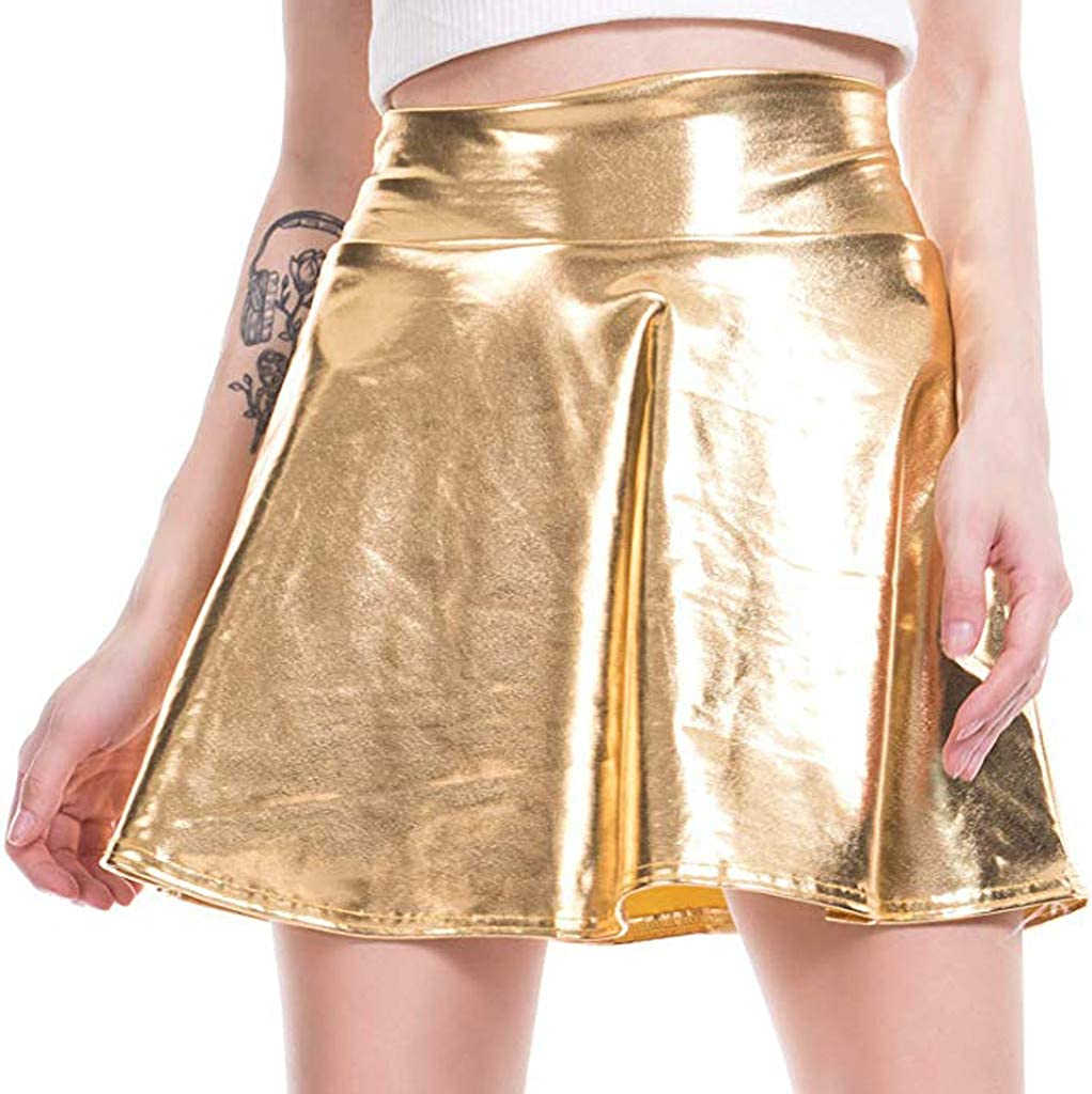 Womens Casual Fashion Shiny Metallic Flared Pleated A-Line Mini Skirt