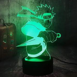 Naruto Anime - Lámpara LED 3D con mango y mando a distancia, ideal como regalo de Navidad para niños, decoración del dormitorio, juguete para niños, regalo creativo