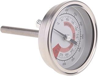 Homyl Termômetro de grelha de forno de aço inoxidável com visor duplo para churrasco de carne 75°C – 300°C/150°F – 600°F