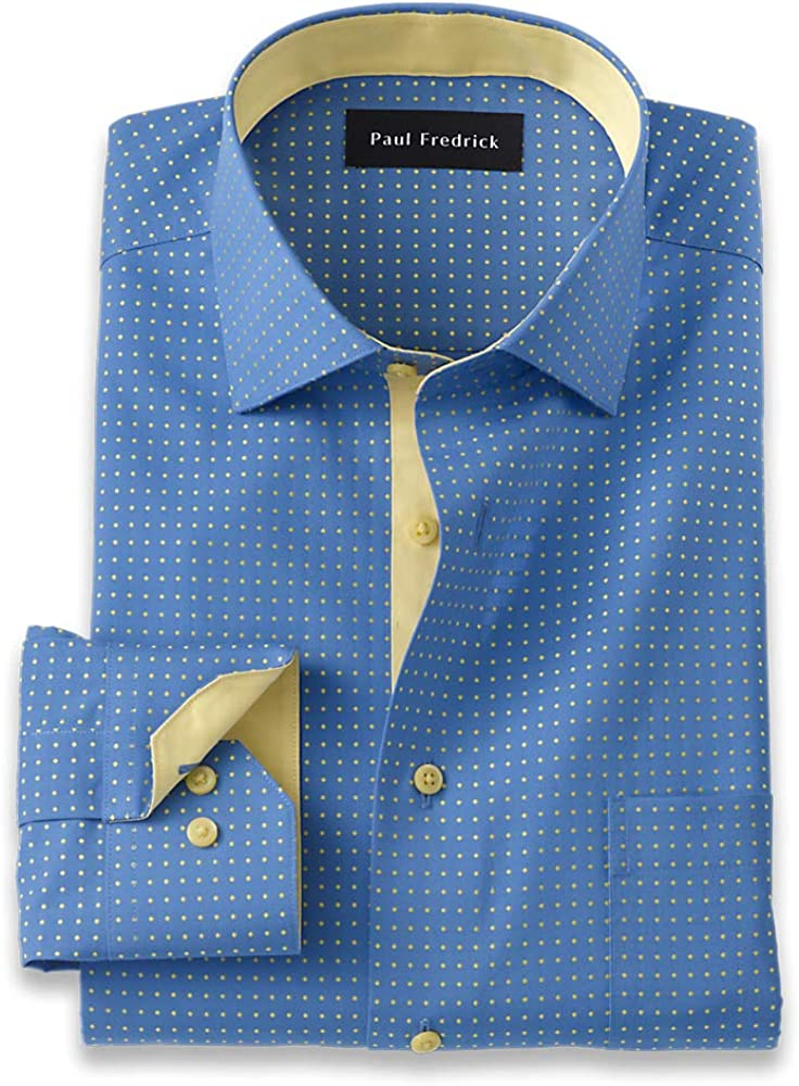 Paul Fredrick Men's Classic Fit Non-Iron Cotton Dot Dress Shirt