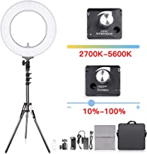 Adjustable 2700-5500K Bi-Color Temperature Ring Light, SAMTIAN 14 Inches Outer YouTube Light Dimmable SMD LED Makeup Light with 2M Light Stand Phone Holder for Video Shooting YouTube Video Portraiture