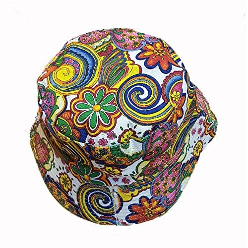 494553db57060 Cool colourful psychedelic paisley bucket hat white
