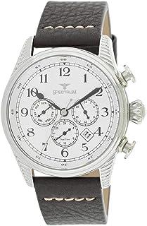 Spectrum Men's Silver Case White Dial Multi Function Dress Watch