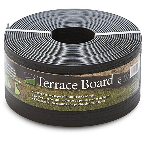 Master Mark Plastics Black Terrace Board Garden Landscape Edging Coil, 5-Inch By 40 Foot with 10-Piece Yard Landscape Stakes