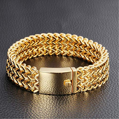 CXKEB Herren-Armband, Schmuck, Geschenke, Armbänder und Armbänder für Männer, goldfarben, Armband aus Edelstahl