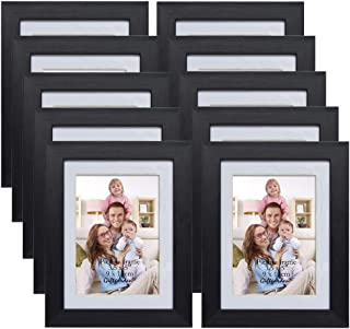 Giftgarden 3.5x5 Picture Frames with Mat for Wall Decor, Black, Set of 10
