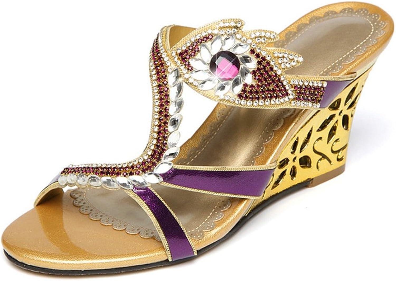 U-MAC Womens Wedges Sandals Sweet Fashion Wedding Bride Party Rhinestone Leather Low Heel Cut-Out