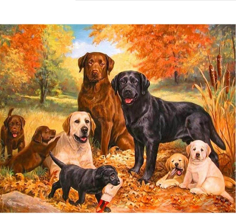Waofe  Rahmen Hunde Familie Diy Malen Nach Nummer Tiere Handgemaltes Ölgemälde Wandkunst Bild Einzigartiges Geschenk Für Wohnkultur B07PNVH37T | Niedriger Preis und gute Qualität