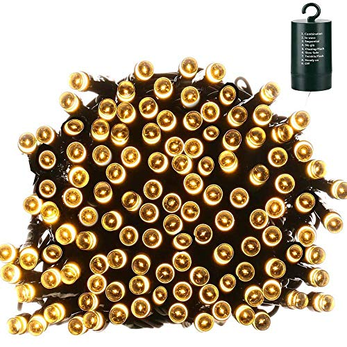 Lyhope Christmas Lights, 200 LED 72ft 8 Modes Battery Operated Waterproof Fairy Christmas String Lights for Outdoor & Indoor, Patio, Lawn, Landscape, Garden, Xmas Tree, Holiday (Warm White)