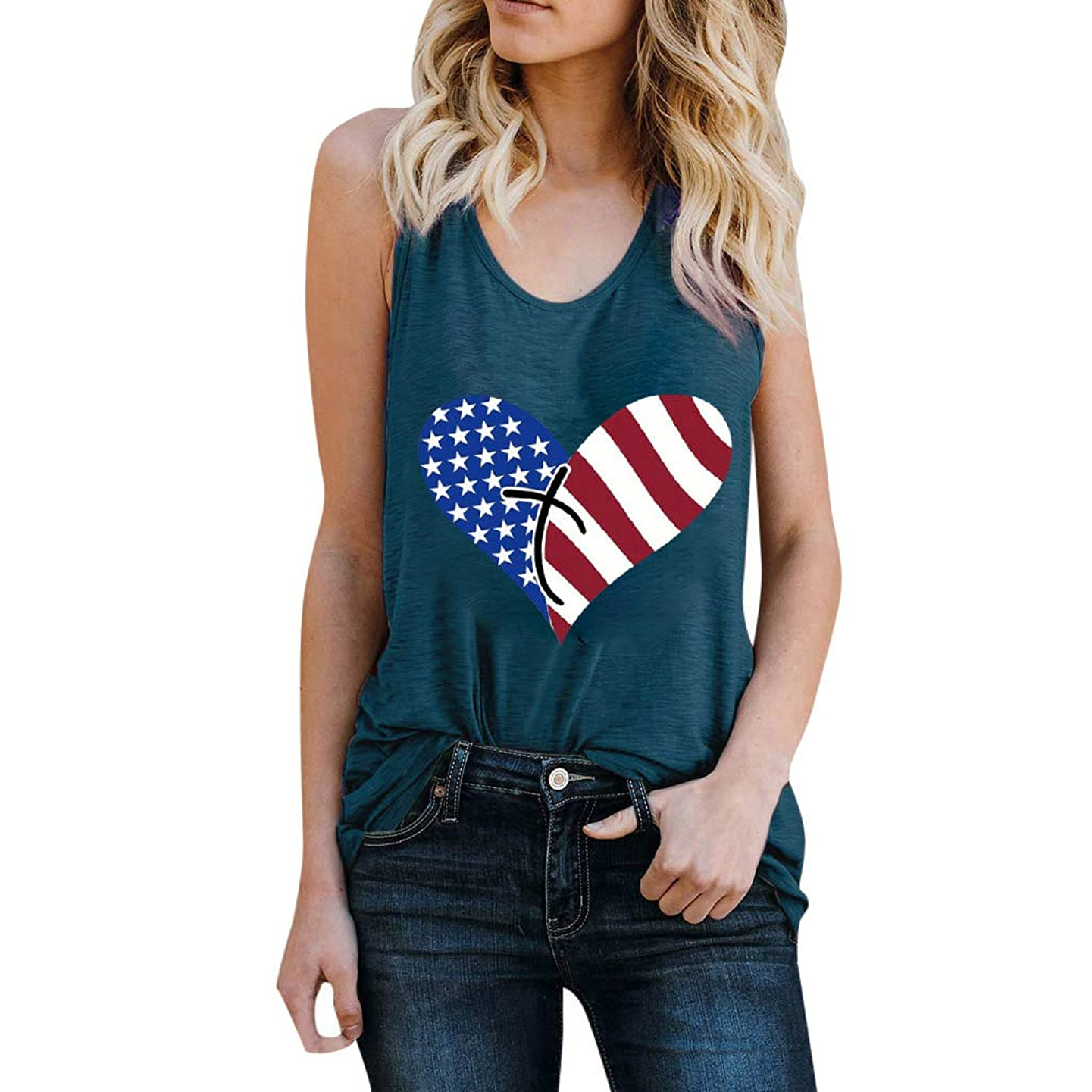 CCOOfhhc Independence Day,Summer Women Tops American Flag Print Casual Tank Tops Raceback Round Neck Tees Shirt