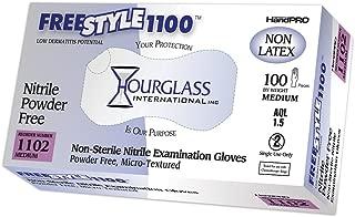 Hourglass HandPRO FreeStyle1100 Nitrile Glove, Exam, Powder Free, 240mm Length, 0.06mm Thick, Medium (Box of 100)
