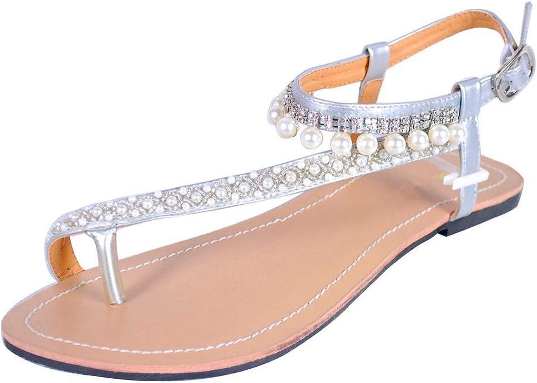 Yuren Snow Women`s Summer Bohemia Diamond Sandals Women Beach Pearl shoes T-Strap Thong flip Flops