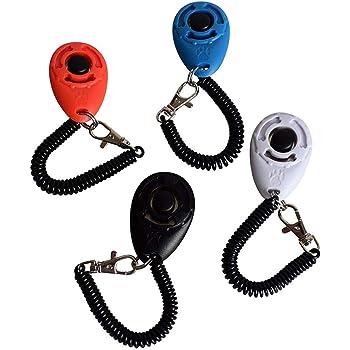 犬笛リストストラップ付き犬のトレーニングクリッカー - ペットトレーニングクリッカーセット、犬のためのペット楕円クリッカートレーニングツール (4PCS)
