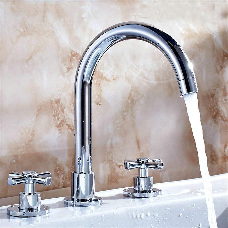 YAWEDA Bathroom Basin Faucet Hot Cold Mixer Tap Set Bath Faucet Chromed Polished