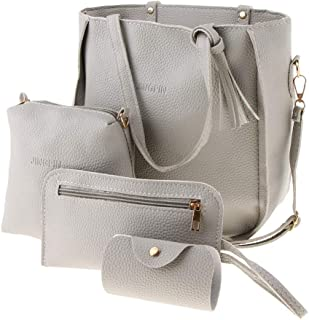 Baoblaze Women Pu Leather Handbag Purse Bag Set 4 Pieces Shoulder Bags Big Capacity