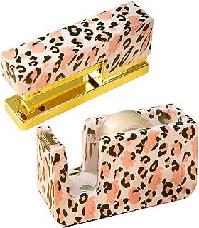 1-Inch Core Nonslip Tape Dispenser Heavy Duty, Multibey Effort Reduced Stapler with 950Pcs Staples Leopard Printed Yellow Gold Stationery Desk Set School Office N Home Supplies (NE1500903)