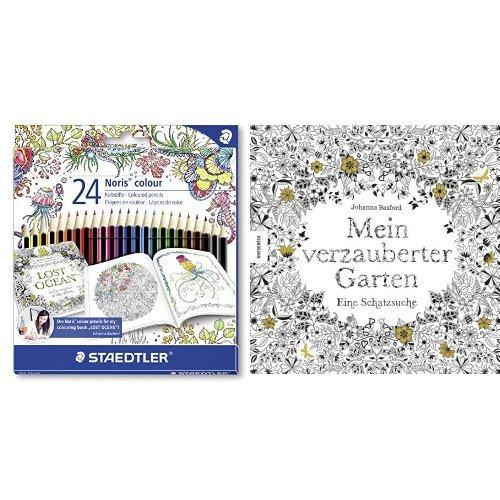 Set - STAEDTLER Buntstifte Noris colour Set 24 Farben und Johanna Basford - Mein verzauberter Garten: Eine Schatzsuche