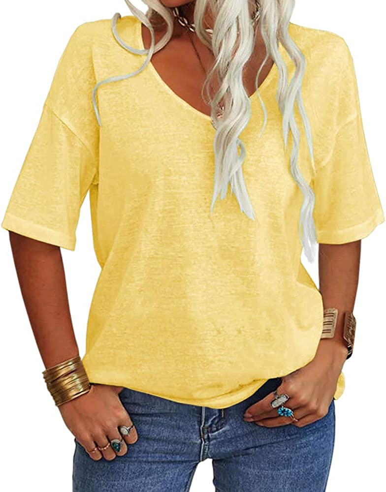 Danedvi Women Fashion V-Neck free shipping Half Sleeves Shirt L Solid Price reduction T Casual
