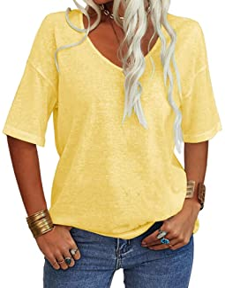 Women Fashion V-Neck Half Sleeves T Shirt Solid Casual...