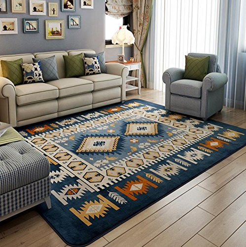 KOOCO Modern Mediterranean Style Carpets for Living Room Home Bedroom Rugs and Carpets Coffee Table Floor Mat Children Play Area Rug, Blue, 190X280CM