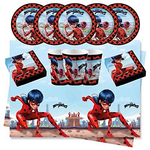 Kit Set Festa 53 Pezzi Lady Bug e Chat Noir Coordinato Completo Compleanno per 16 Bambini.