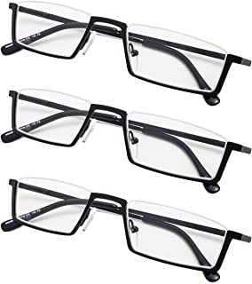 3-Pack Half-Rim Reading Glasses with Spring Hinges for Women and Men Readers