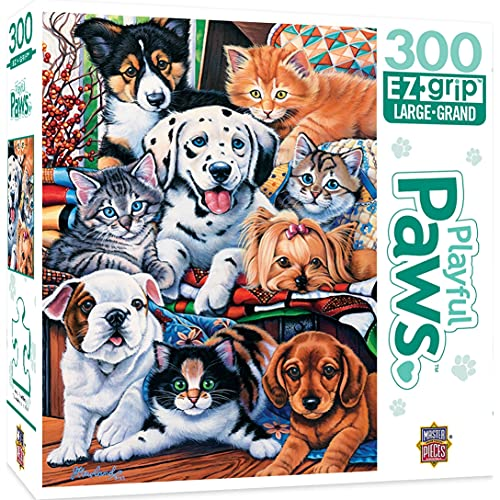 MasterPieces Obras maestras Puzzle Company Playful Paws Pet Pals EZ Grip Jigsaw Puzzle