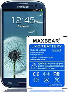 Galaxy S3 Battery, MAXBEAR 2500mAh Extended Slim Replacement Battery for Samsung Galaxy S3 I9300 EB-L1G6LLU, Verizon I535, T-Mobile T999, Sprint L710, AT&T I747, R530, LTE I9305   S3 Spare Battery