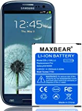 Galaxy S3 Battery, MAXBEAR 2500mAh Extended Slim Replacement Battery for Samsung Galaxy S3 I9300 EB-L1G6LLU, Verizon I535, T-Mobile T999, Sprint L710, AT&T I747, R530, LTE I9305 | S3 Spare Battery