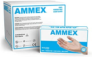 AMMEX Medical Clear Vinyl Gloves, Case of 1000, 4 mil, Size Small, Latex Free, Powder Free, Disposable, Non-Sterile, VPF62100