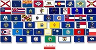 50-State 3'x5' Polyester Flag Set Plus D.C.-51 Polyester 3'x 5' Flags, One Flag for Each State, Includes The District of Colombia (Washington DC)