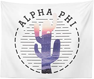 Alpha Phi Sorority Water Color Cactus Dorm Apartment Wall Tapestry 60 Inches x 80 Inches A Phi