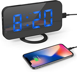 Digital Alarm Clock, BabyNora alarm clock 6.5'' Large Mirror Surface Digital LED Clock Bedside Mains Powered with Snooze Function, Auto/Manual 3 Mode Dimmers and Dual USB Port with Charging for Office