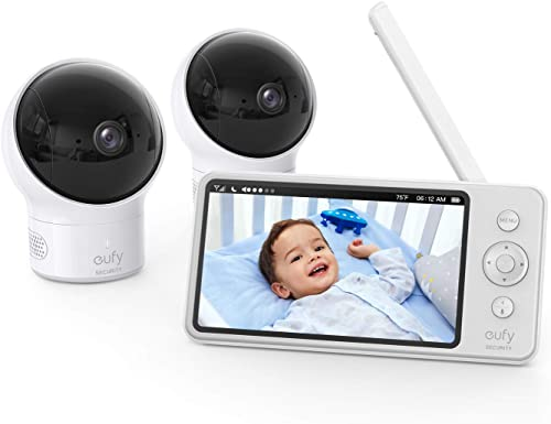 """high quality eufy Security, Video Baby Monitor with Camera and Audio, 2-Cam outlet online sale Kit, 720p HD, Ideal for New Moms, 5"""" Display, 110° Wide-Angle Lens, Night discount Vision sale"""