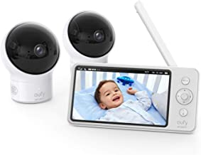 """eufy Security, Video Baby Monitor with Camera and Audio, 2-Cam Kit, 720p HD, Ideal for New Moms, 5"""" Display, 110° Wide-Ang..."""