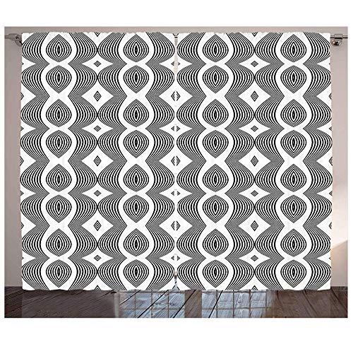 MUXIAND monochroom golfpatroon van de hedendaagse gordijnen met bochten en diamantvormen op Art Design woonkamer slaapkamer raamgordijnen