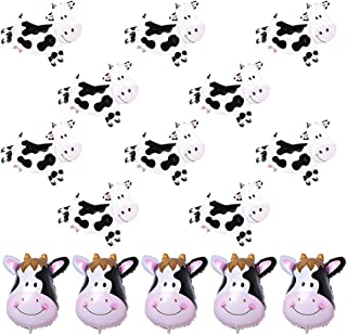 15 Pcs Animal Head Balloons Cow Print Balloons Farm Animal Cow Theme Birthday Party Supplies For Cow Party Decorations, Ba...